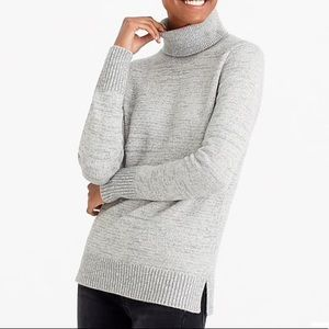 J.CREW SPACE DYED HEATHER GREY TURTLENECK SWEATER!